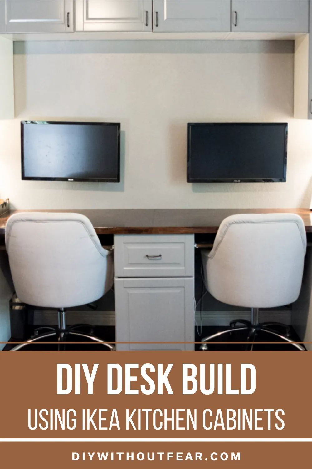 How To Make A Desk From Kitchen Cabinets Part Two Diy Without Fear In 2020 Ikea Kitchen Ikea Kitchen Cabinets Furniture Makeover Diy