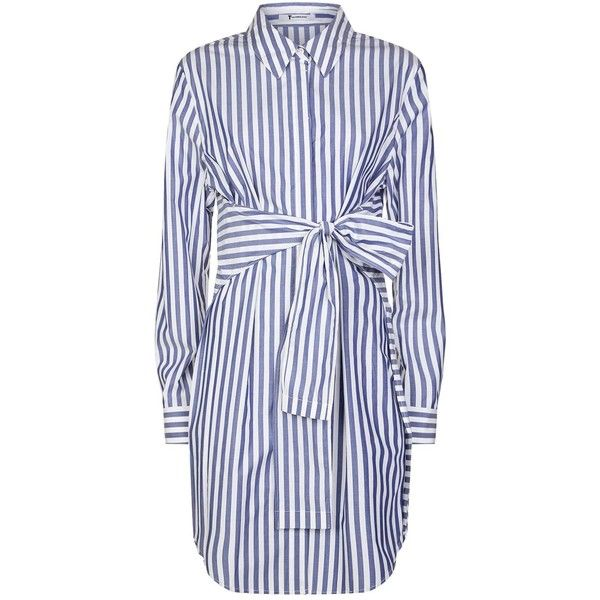 T by Alexander Wang Tie-Front Shirt Dress (301.905 CLP) ❤ liked on Polyvore  featuring dresses 3daa2a24600e
