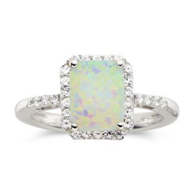 Lab-Created Cushion-Cut Opal & White Sapphire Ring  found at @JCPenney So totally in love with this!