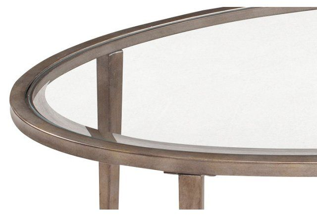 Corby Oval Coffee Table, Antique Silver   One Kings Lane