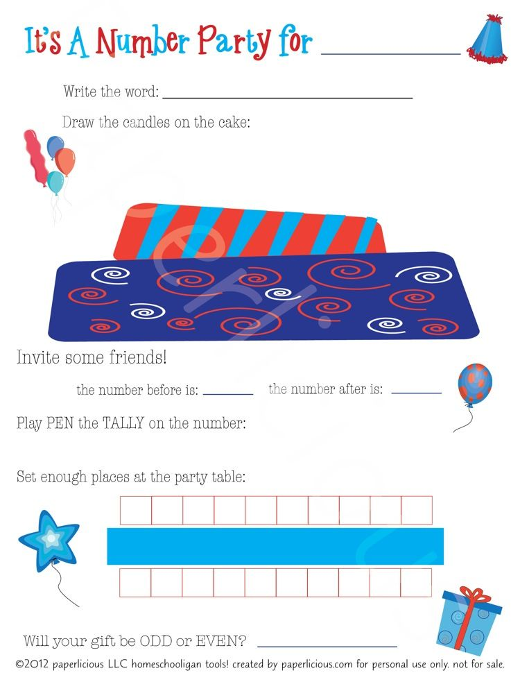 Number Party Number Chart PDF Download so cute