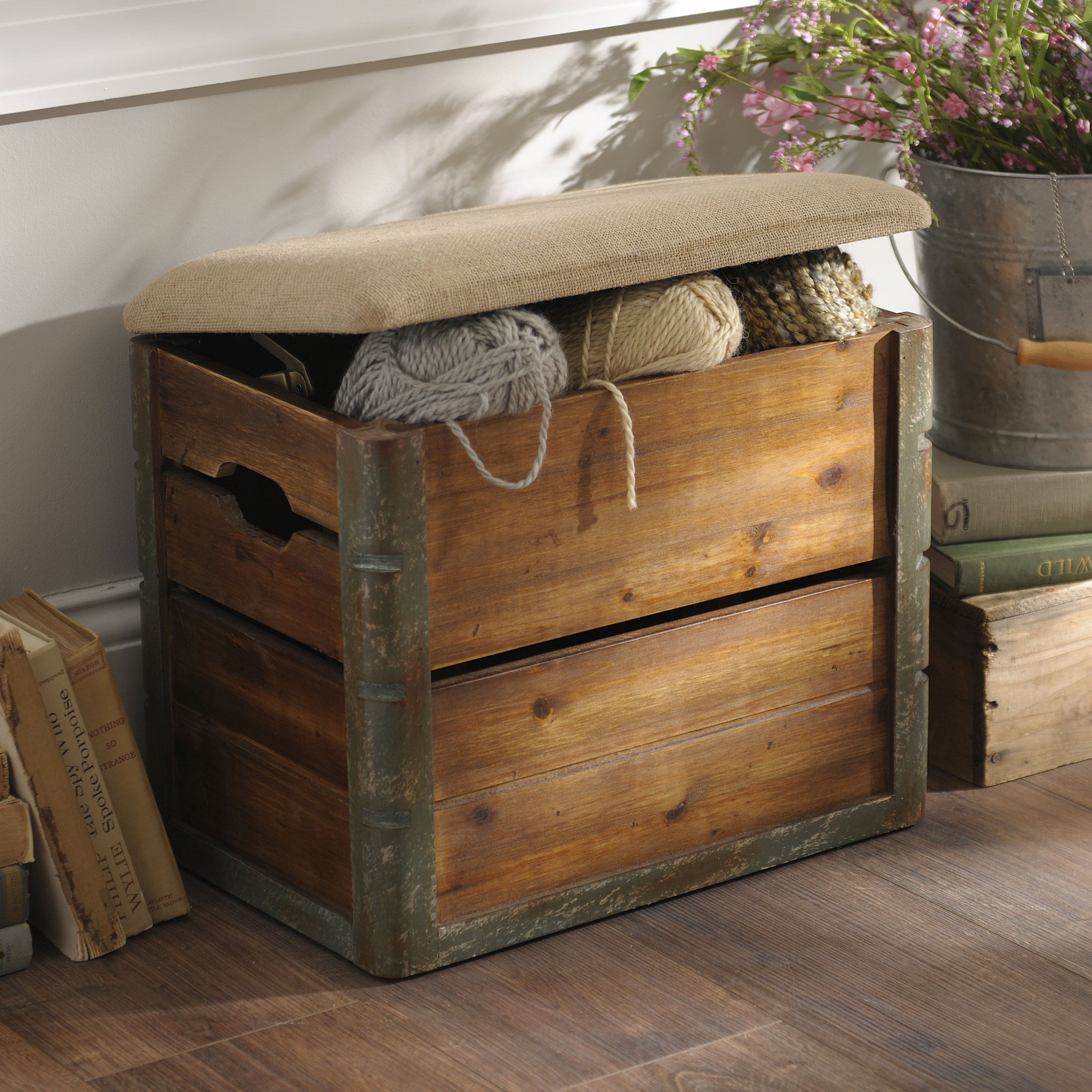 We Canu0027t Get Enough Of This Wooden Crate Storage Ottoman! The Rustic Styling