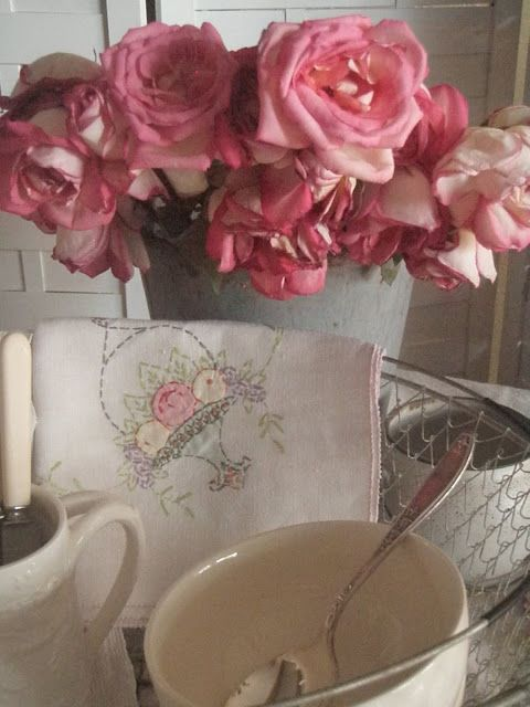 . . . Cabin & Cottage: Faded Roses ~ A Vintage Tablescape