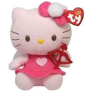 "TY Beanie Babies 6"" Hello Kitty Stuffed Animal Soft Plush Cat Doll Pink Dress"