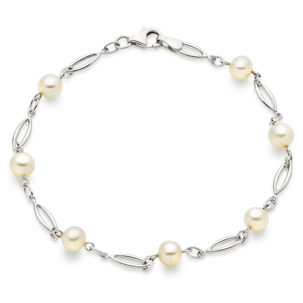 9ct White Gold Freshwater Cultured Pearl Bracelet | June ...