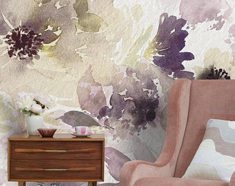 Watercolor wallpaper Etsy in 2020 Floral bedroom