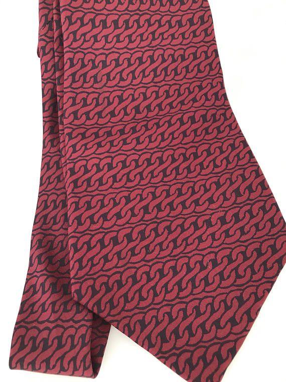 acc363d6fa69 MINT Vintage Hermes Wide Silk Tie 535 IA Silk Twill, Red Dark Blue ...