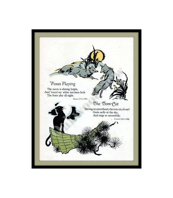 #Asian #fox #Foxes #Playing #Print #vintage #Japanese #childrens #Poetry #poems #oakwoodview #oakwoodviewtoo #evt #tomcat #cat by OakwoodView