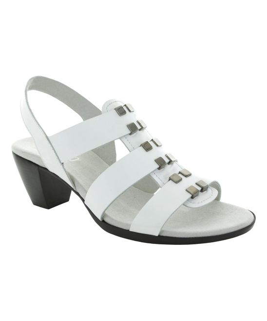 c6bc52a4c11 White Maggie Strappy Leather Sandal Slingback Sandal