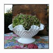 Photo of Fenton Milk Glass Hobnail Centerpiece / Milk Glass Wedding Centerpiece / Milk Gla …