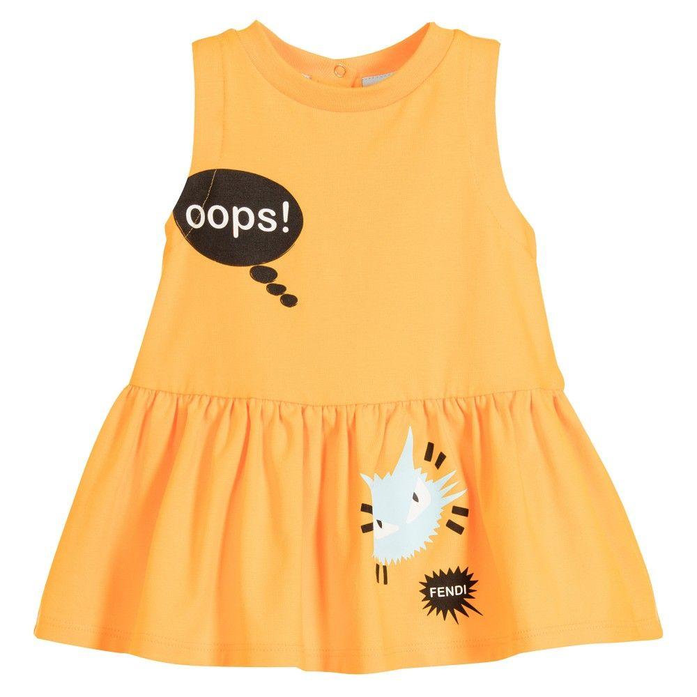 ab9cc51f8 Fendi - Baby Girls Orange Cotton Jersey Dress