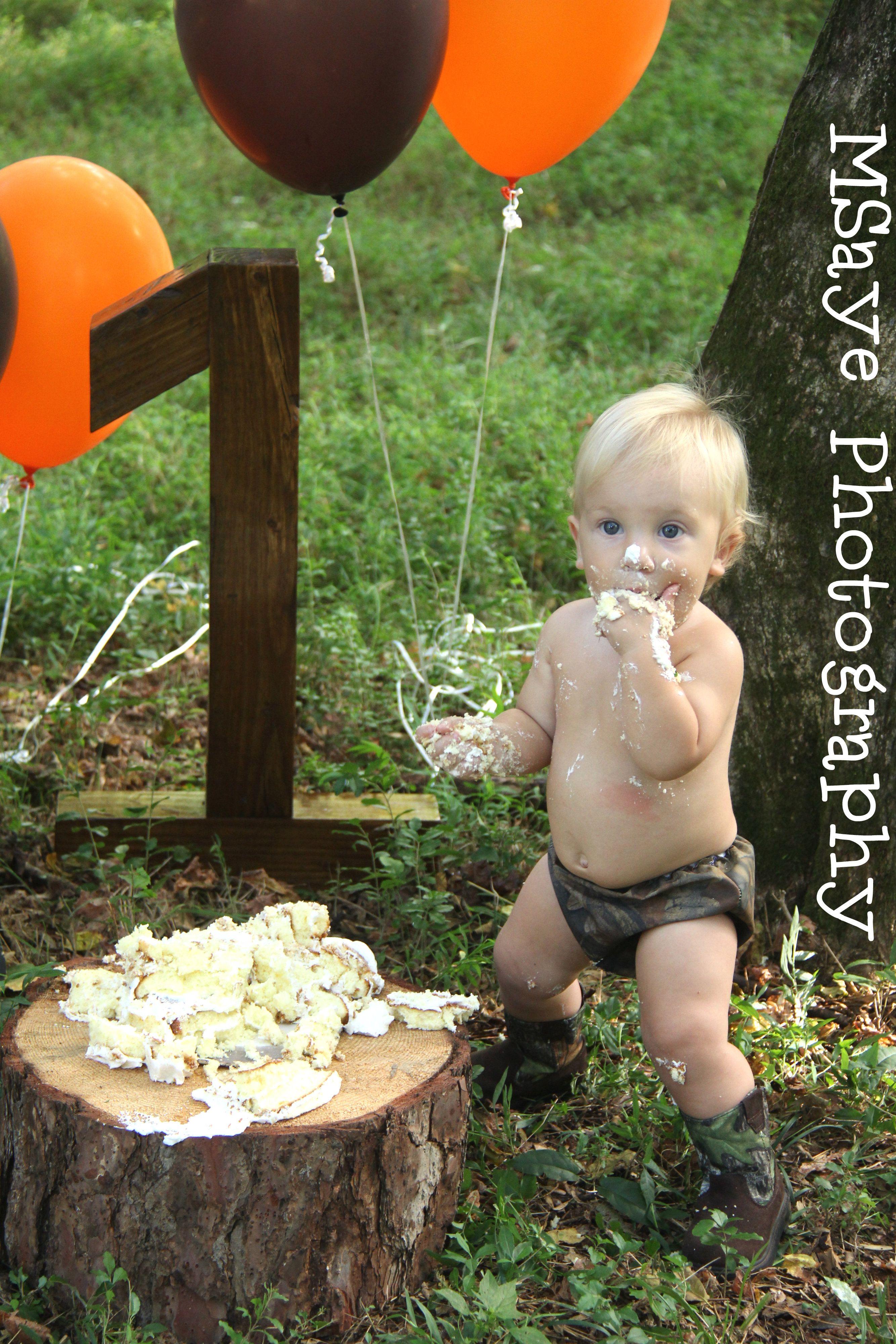 Cake Smash Blonde hair Blue Eyes and Camo 3 Cake Smashs
