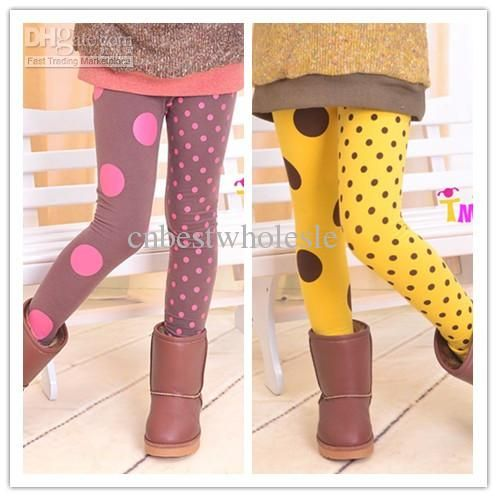 Wholesale Spring autumn winter kids girls polka dots fur leggings baby girl korea style tights legging pants 2-8years children's 2colors, Free shipping, $5.98/Piece | DHgate