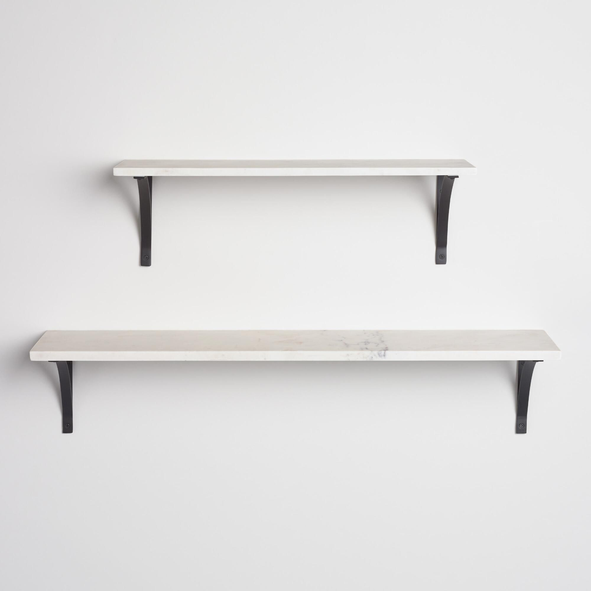 White Marble Mix Match Wall Shelves White Wall Shelves Marble