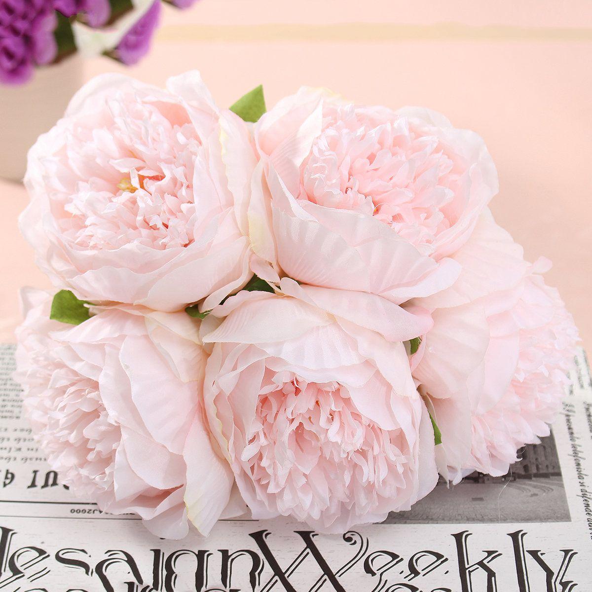 5 Heads Artificial Silk Peony Flowers Wedding Bride Hydrangea ...