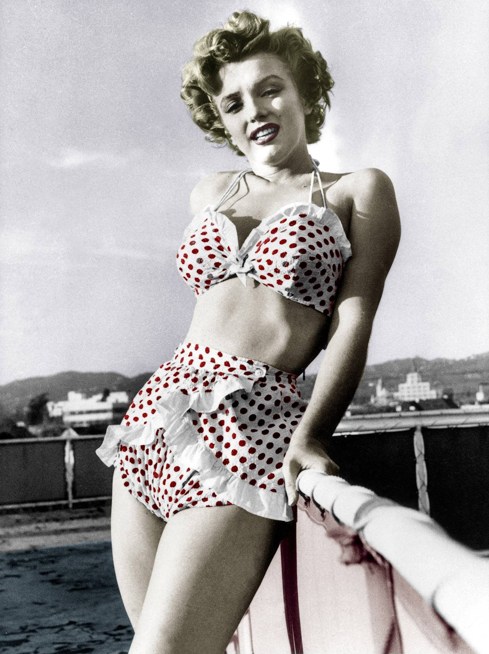 d1c67f65a8 Marilyn-- Two Piece Swimsuit   Polka Dots   Vintage    Retro Style    Marilyn Monroe