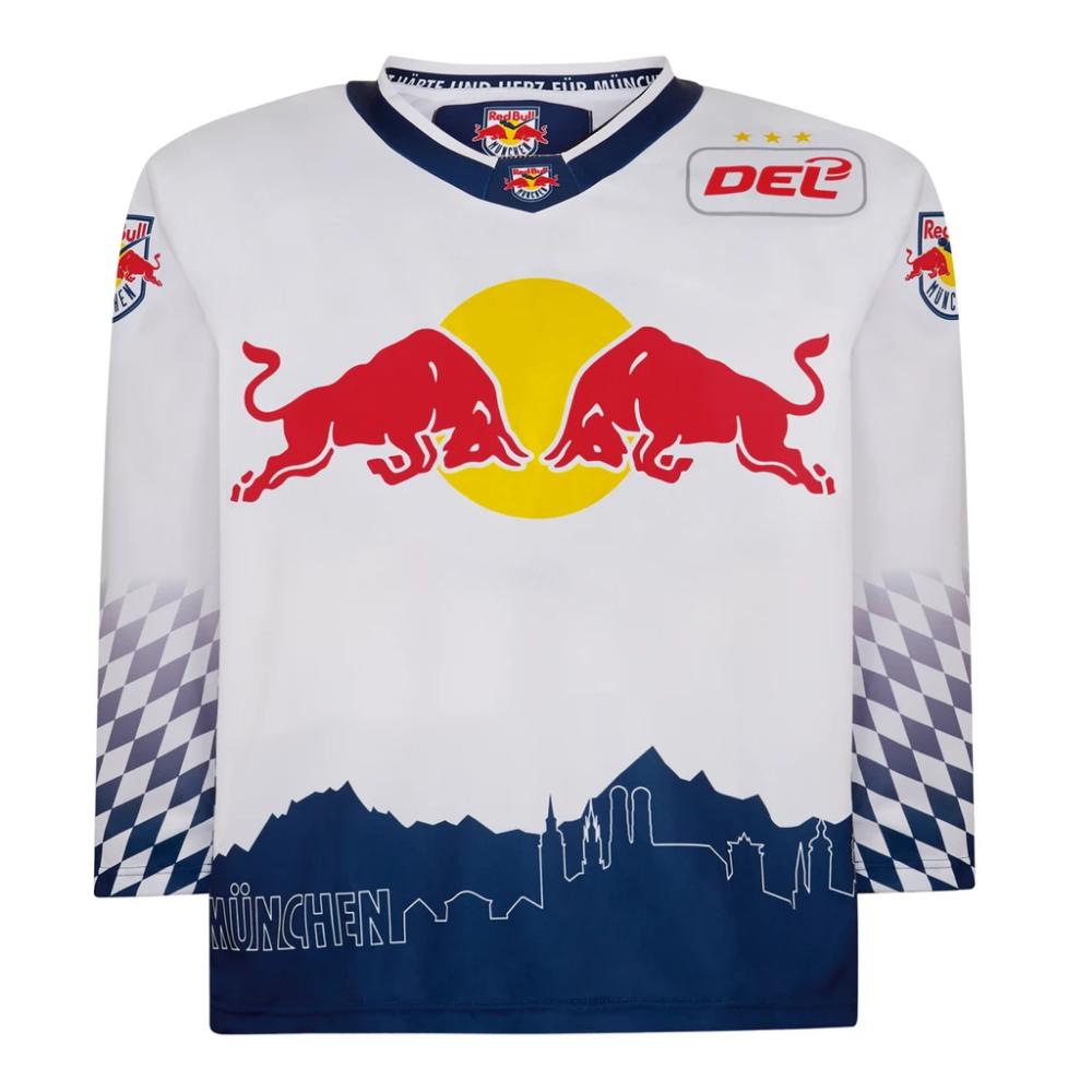 Ech Red Bull Munich Away Jersey In 2020 New York Red Bulls White Jersey Warrior Logo