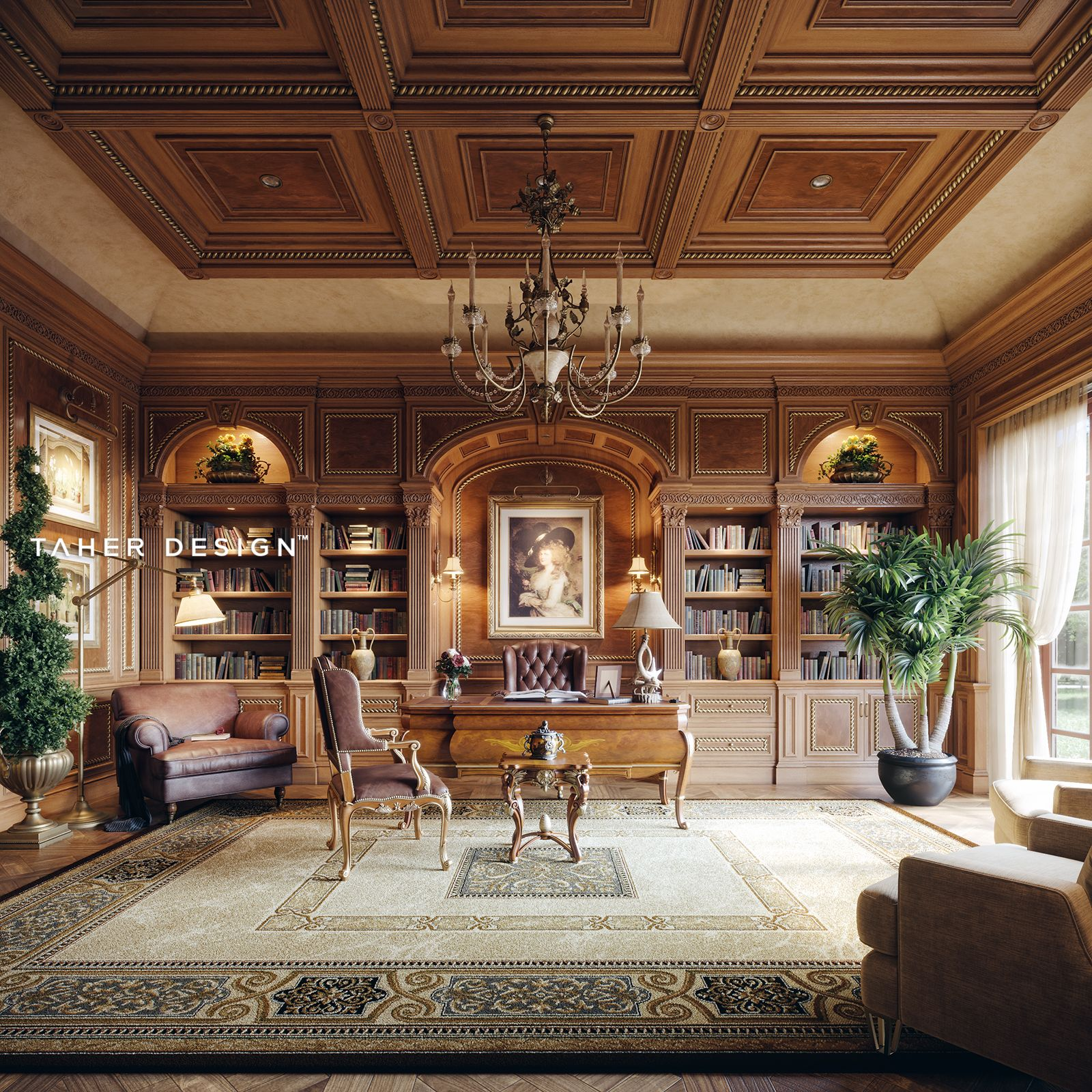 Home Office Design For Luxury Mansion Located In Dubai Uae