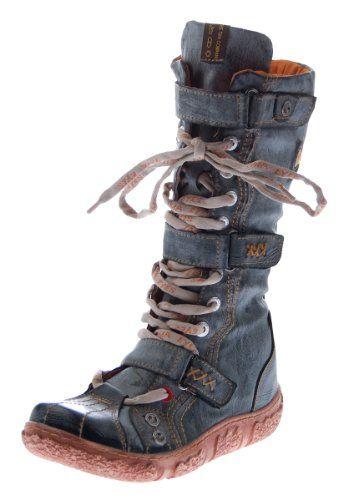 Leder Stiefel TMA Damen Winter Schuhe gefüttert Schwarz Weiß Rot Grün Gelb Damenstiefel im used look