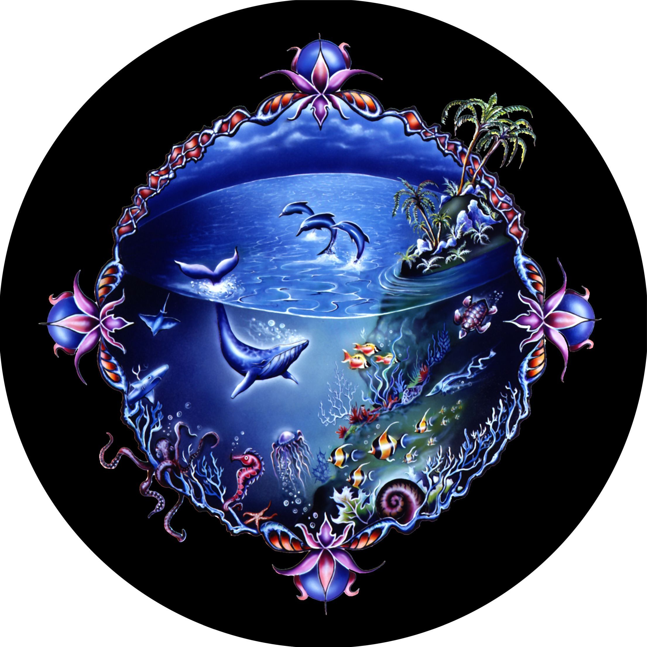 Undersea Whale Dolphin Hibiscus Border Spare Tire Cover For Jeep RV Camper VW Trailer Etc
