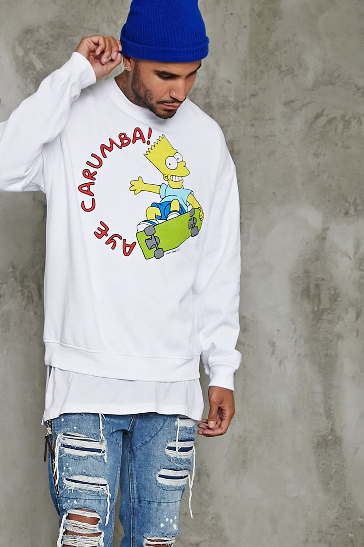 0c2577db4 A fleece knit sweatshirt featuring a Bart Simpson and