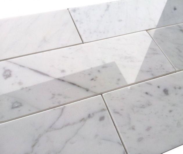 7 50sf Carrara Bianco 3x8 Polished Subway Tile Italian Marble