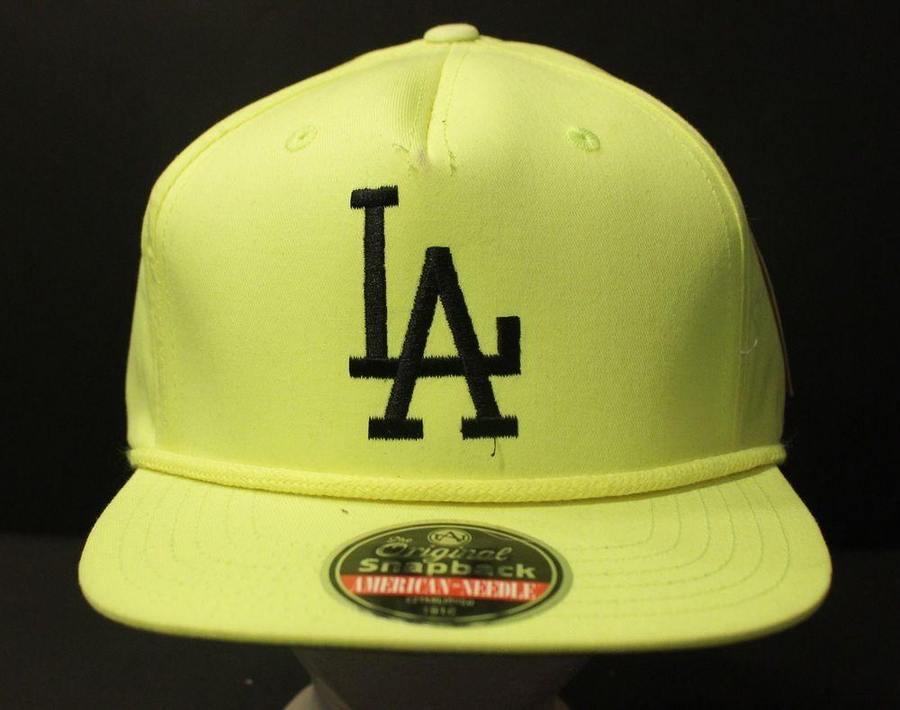 c3c4ae75237 Los Angeles Dodgers Snapback Hat Baseball Cap Neon Yellow Retro NWT  Cooperstown  AmericanNeedle  BaseballCap