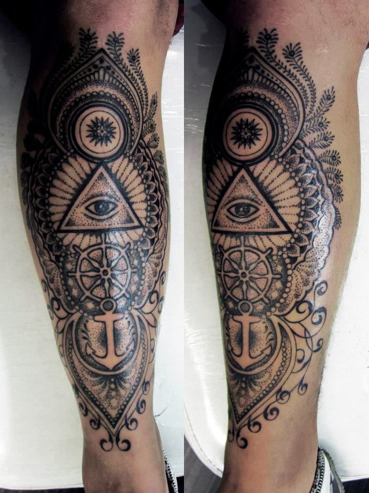 Mens Leg Tattoo With Anchors And Cool Shading Leg Tattoos For Men