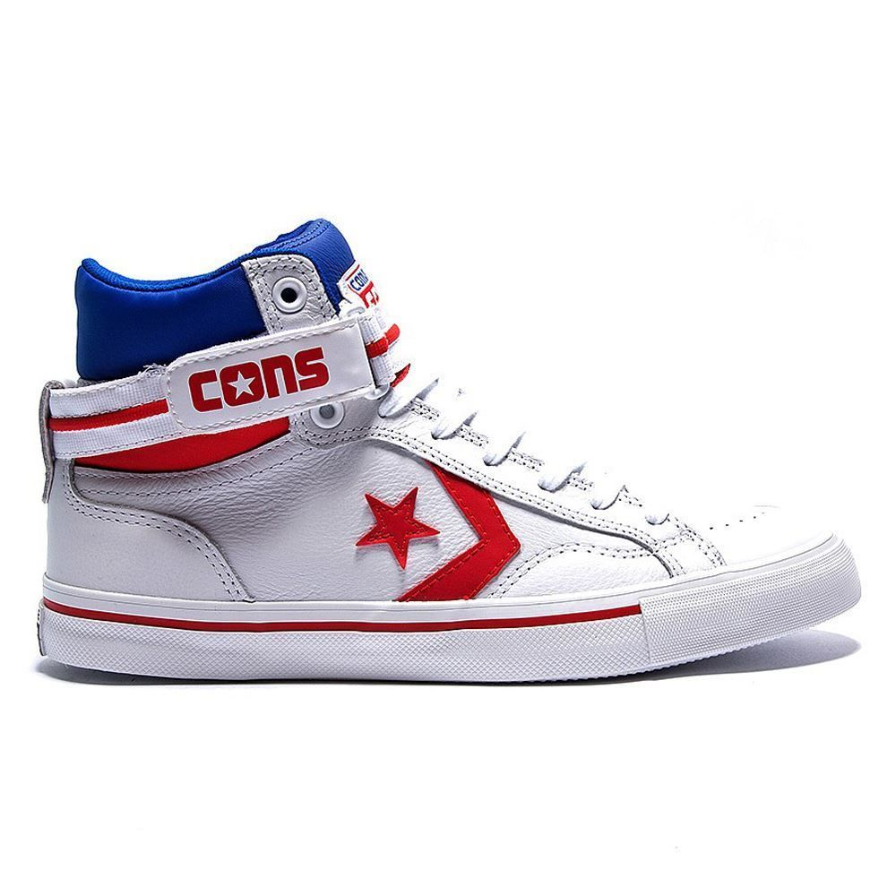 Converse Pro Blaze Plus White Red Mens Trainers - 144405C | Converse ...