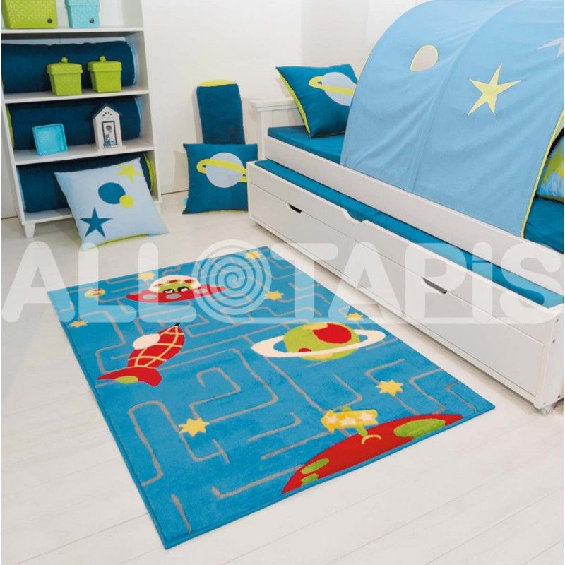 tapis pour chambre de gar on en polypropyl ne bleu galaxy. Black Bedroom Furniture Sets. Home Design Ideas