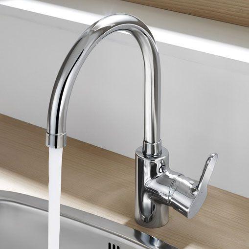 Roca L20 Chrome Kitchen Sink Mixer with Swivel Spout - 5A8409C00 ...