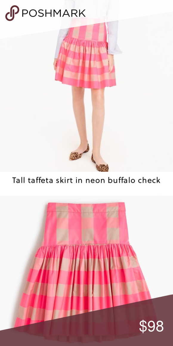 J.Crew taffeta skirt in neon buffalo check