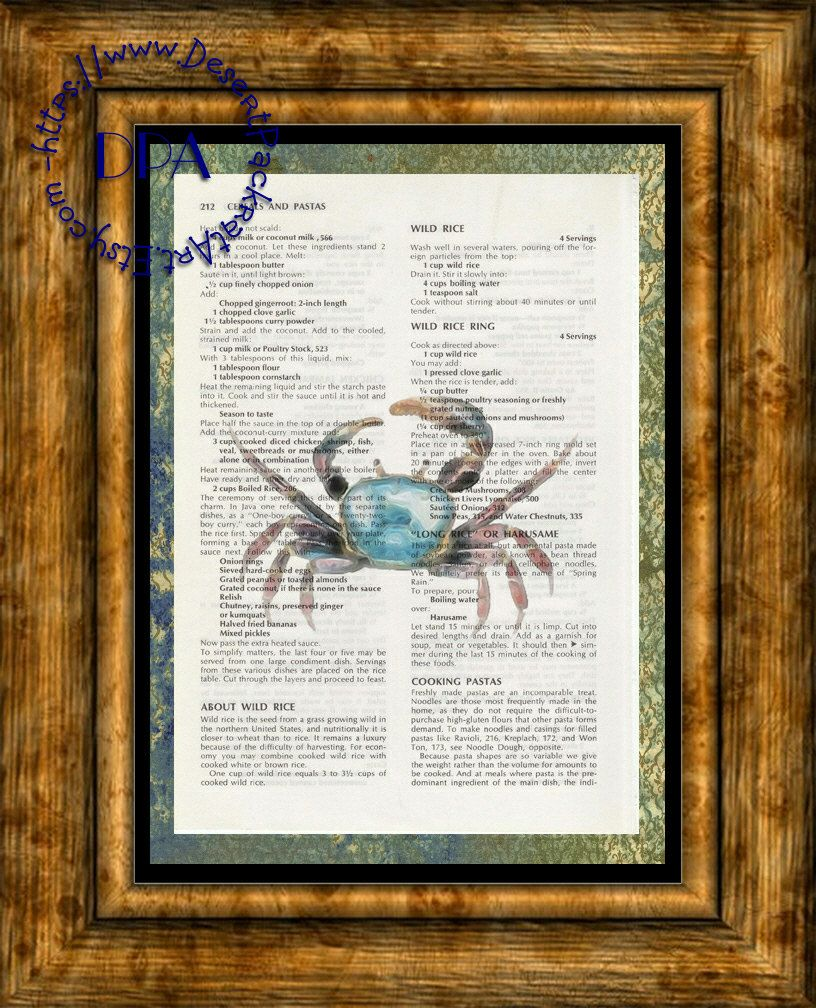 Blue Crab Into The Light Glow Art Beautifully Upcycled Vintage Dictionary Page Book Art Print Sea Life Print Kitsch Art Glowing Art Vintage Dictionary