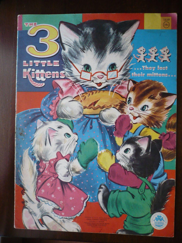 Vintage Oversize Clothlike Book Three Little Kittens