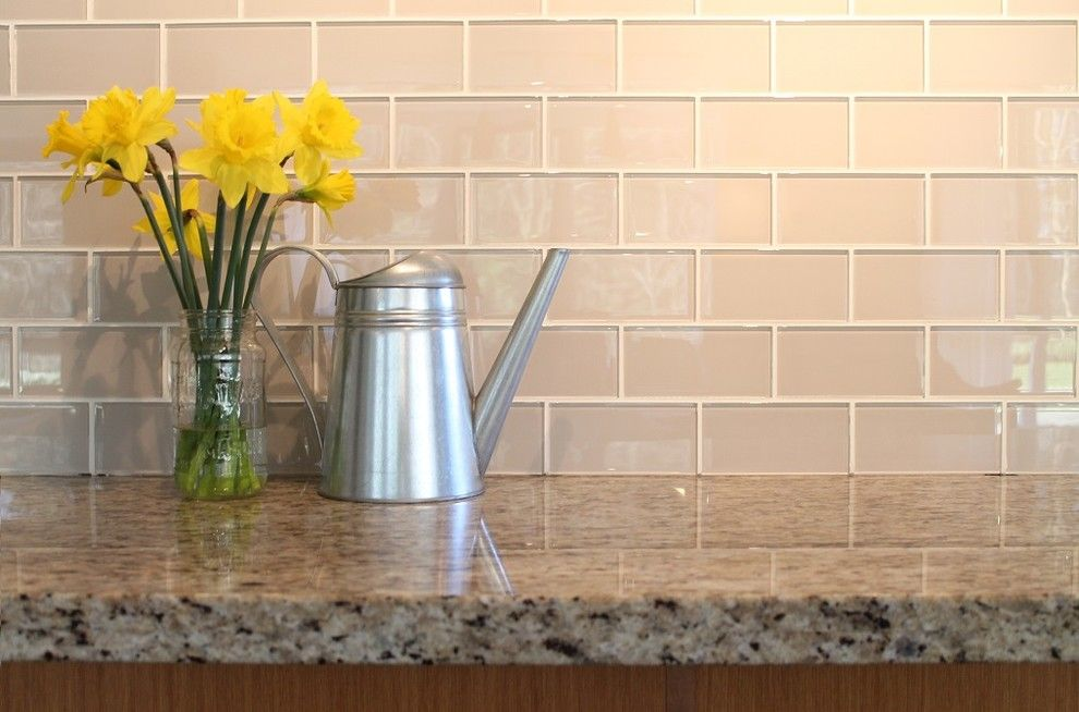 Glass Subway Tile Kitchen Modern With Glass Backsplash Glass