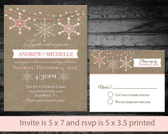 Rustic Country Winter Wedding Invitations Digital Printable File _ Snowflakes on Burlap Coral and Pink Cream on Etsy, $43.93 AUD