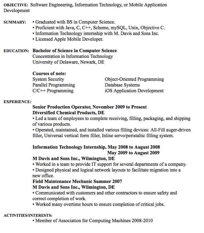 Software Engineering Resume Example Raymond S Cook Iv Contact