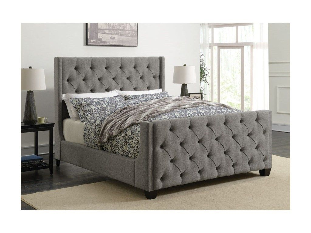 7bbaa4bcc5b3f 300515Q Pissarro collection grey velvet fabric upholstered queen bed set  with tufted accents in 2019