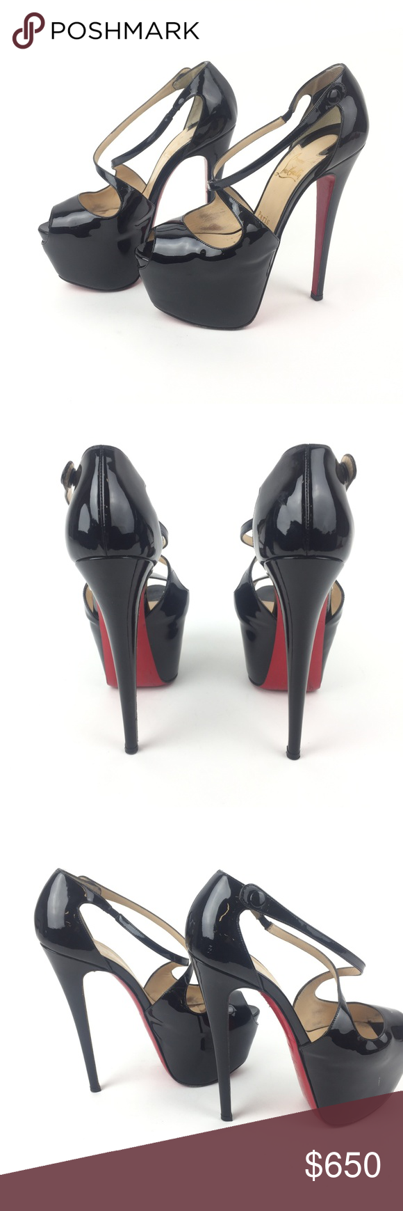 430cfaeabce Christian Louboutin Catchy two 120 Heels SZ 37 Black stiletto ...