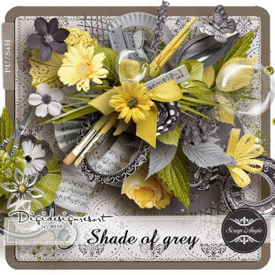 Shade of Grey (PU) by Scrap'Angie  This kit contains : 80 elements and 15 papers