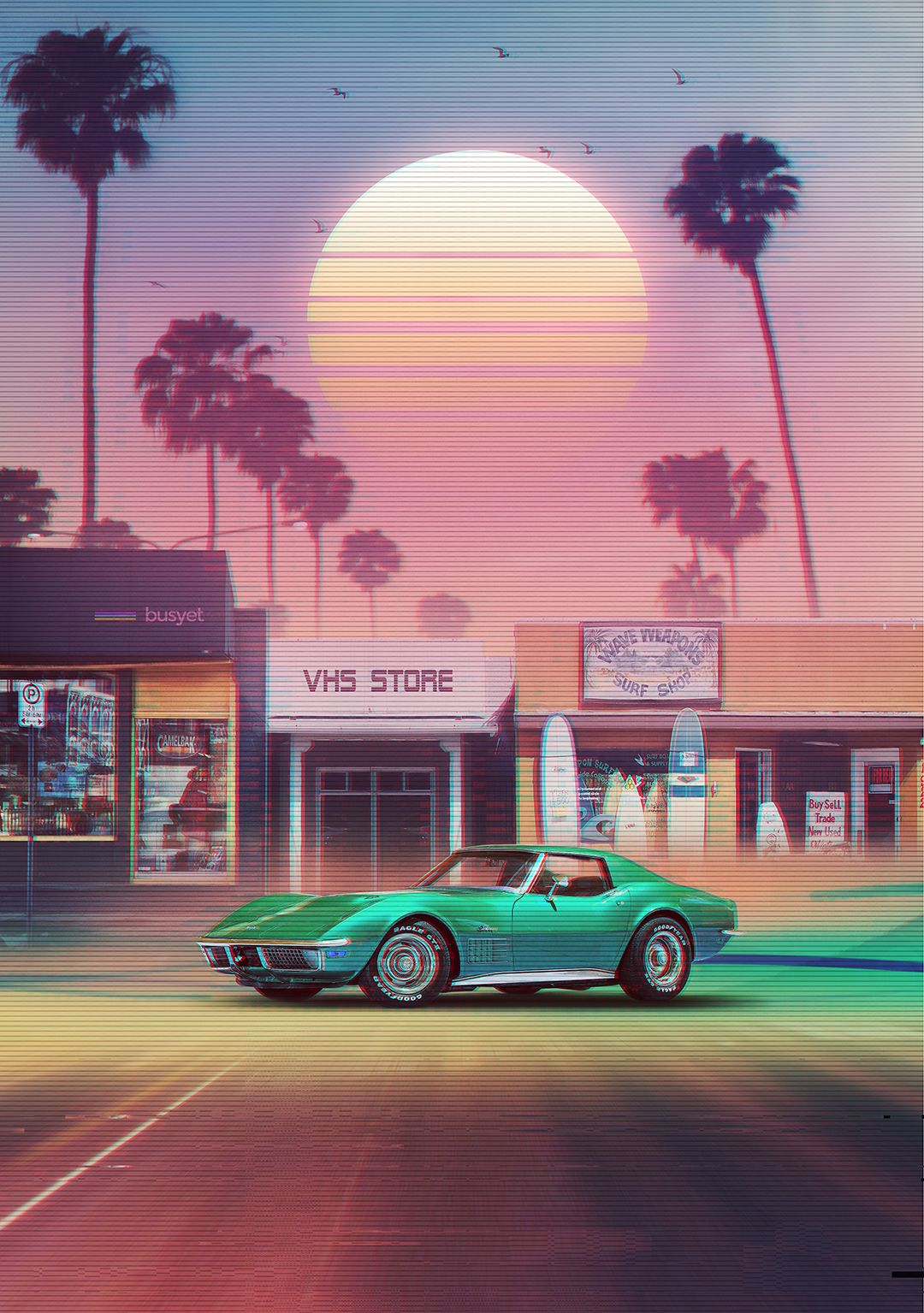 Synthwave Sunset Drive Poster By Dennybusyet Vintage Retro