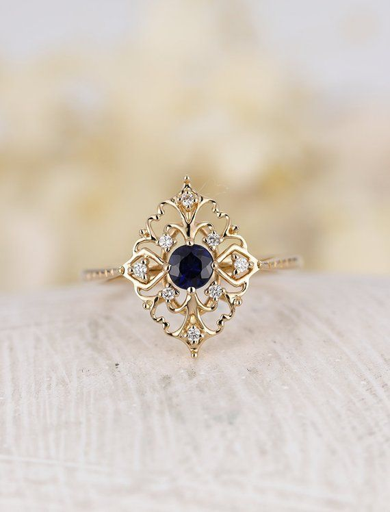 Natural sapphire engagement ring Vintage engagement ring 14k rose gold ring round cut Unique Diamond wedding ring Bridal Anniversary