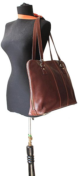 32166c3e37dc Carla Ladies Italian Dark Brown Leather Laptop Briefcase Handbag ...