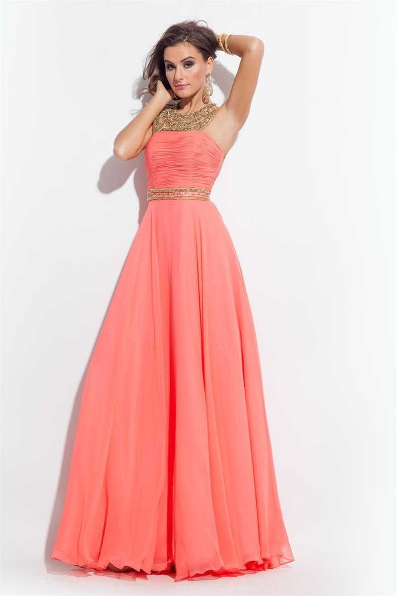 Rachel allen coral size chiffon prom dress evening dress