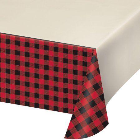Buffalo Plaid Plastic Tablecloth, each, Multicolor