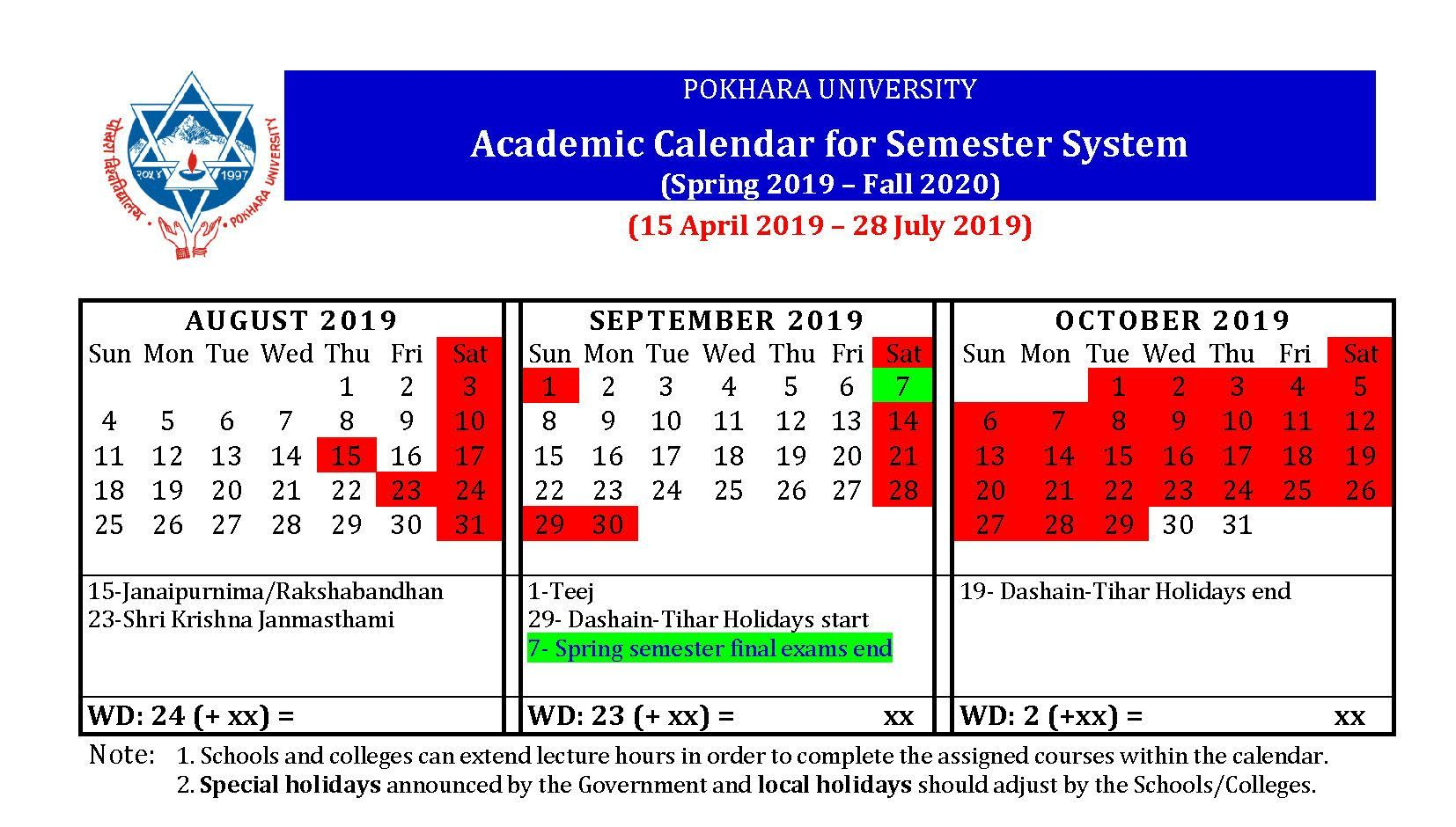 2016 2020 Academic Calendar Pokhara University New Academic Calendar for Ongoing Semesters