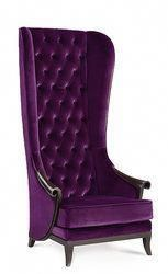 Elegant Living Room High Back Chair Upholstered In Beautiful Plush Purple Velvet Fabric Unique Curved