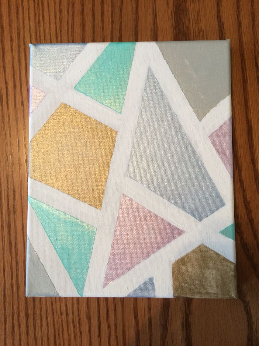 Metallic geometric canvas painting easy diy with painters tape diy