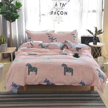 New Cartoon Horses Design Duvet Cover Set For Kids Plaid Bedding And Boy Beds