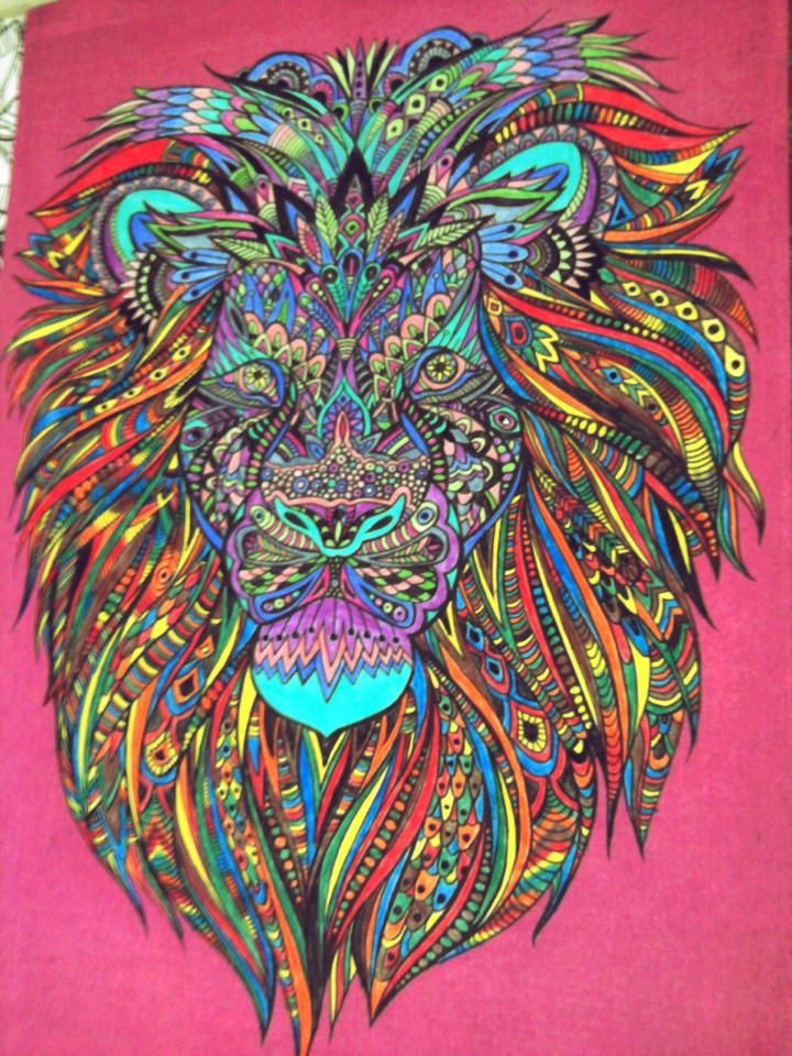 adult coloring lion , color therapy antistress coloring book | what ...